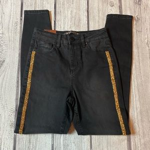 Black and Gold Skinny Jeans